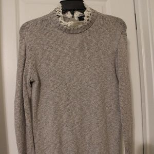 Grey sweater with lace neck and bottom